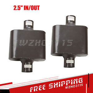 2x 2 5 center Pair Of Single Chamber Performance Race Universal Muffler New