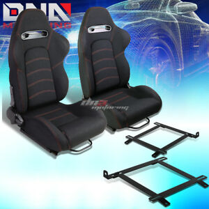 2x Black Cloth Red Dual Stitch Racing Seat low Mount Bracket Fit 99 04 Mustang