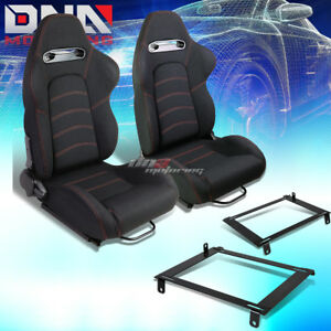 Black Woven Fabric Red Dual Stitch Racing Seat Low Mount Bracket Fit 02 06 Rsx