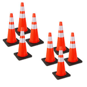 8x Traffic Cones 28 Slim Fluorescent Reflective Road Safety Parking Cones Pvc