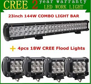 23inch 144w Led Light Bar Combo Off Road 4wd Jeep 4 18w Flood Pods Ford Suv Rzr