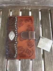 American West Day Planner Leather Western Silver Takes Refills Nwt New Brown