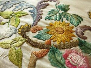 Gorgeous 18th 19th Century European Embroidery On Silk Richly Colored Florals