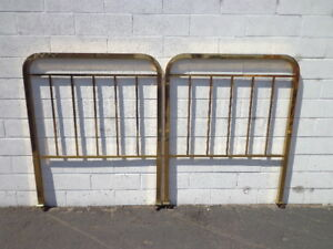 Pair Of Headboards Twin Bed Single Headboard Brass Gold Furniture Bedroom Mcm