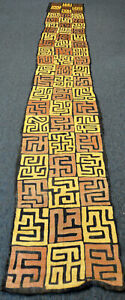 Antique Kuba Cloth Textile Congo 16x2 Feet African Folk Art Hand Woven Raffia