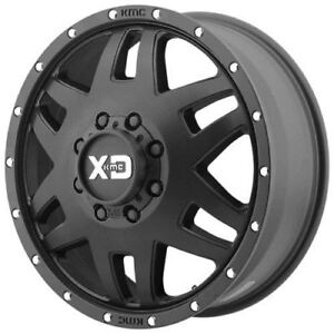 2 New 134 17x6 5 Kmc Xd130 Machete Dually Satin Black 8x165 1 Front Wheels Rims