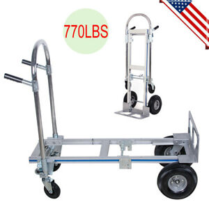 Cart Folding Dolly Push Truck Hand Collapsible Trolley Luggage Aluminium 770lb