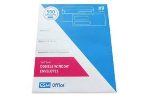 Double Window Security Envelopes Self Seal 9 Box Of 500 For Checks Invoices