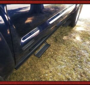 07 18 Silverado Sierra Crew Cab Black Nerf Bars Side Drop Steps Running Boards