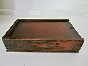 Antique Slide Lid Cherry Walnut Wood Spice Box Late 18th Early 19th C