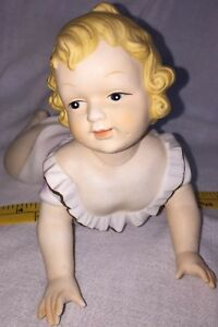 Vintage Bisque Porcelain Blonde Girl Piano Baby Statue Figurine Pink Gown 9