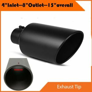 High Temperature Black Bolt On Diesel Exhaust Tip 4 Inlet 8 Outlet 15 Long Us