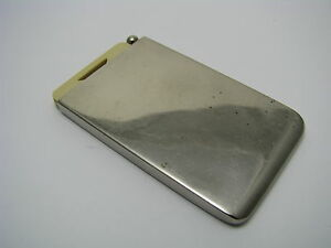 Chrome nickel Plated Metal Note Pad Holder Case Celluloid Notes W pencil Ca1940s