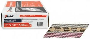 Paslode Framing Nails 3 1 4 L 30 degree Tip coated Steel 2500 Per Box
