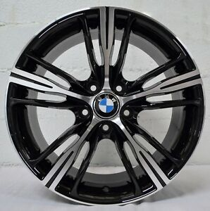 Set Of 4 Wheels 18 Inch Gloss Black Machined Rims Fits Bmw 5 Series