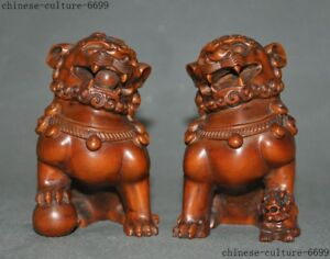 Old Chinese Boxwood Wood Hand Carved Foo Dog Lion Door Guard Keeper Statue Pair