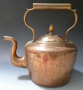 Antique Large 10 Pint Victorian Swan Neck Copper Kettle Dovetail Seam E V Wilkes