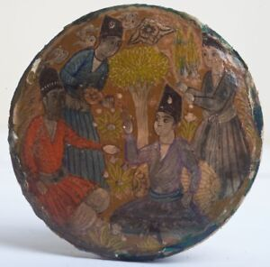 Indian Persian Miniature Hand Painted Papier Mache Lacquered Box Lid Painting