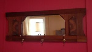 Antique Entry Mirror Coat Rack Brass Hooks Rosewood 45 Arts Crafts Hall Tree