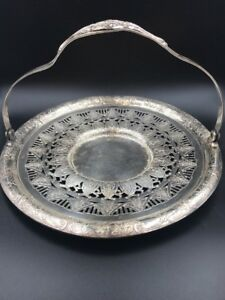 Vintage Sheffield Silver Plate Ornate Circular Gallery Tray With Handle