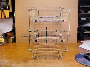 Lot Of Three 3 Vintage Desktop Wire Basket File With Stacker Rods Clean Ready