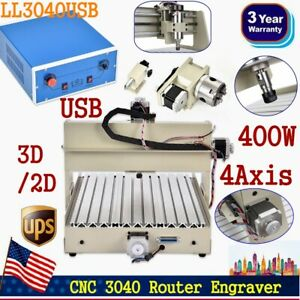 Usa 4axis 400w Usb Cnc 3040t Router Engraver Engraving Milling Machine 3d Cutter