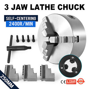 Precision 3 jaw 10 Self centering Metal Turning Lathe Plain Back Chuck New