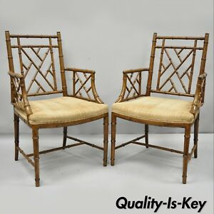 Pair Faux Bamboo Chinese Chippendale Fretwork Armchairs Hollywood Regency Chairs