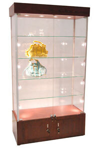 Premium Assembled Cherry Wall Glass Display Case Showcase Light