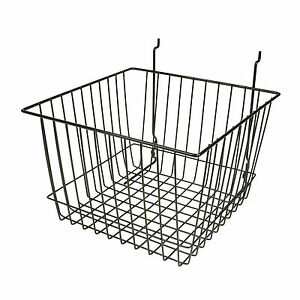 Slatwall Wire Deep Basket 12 L X 12 D X 8 H Black 6 Pieces