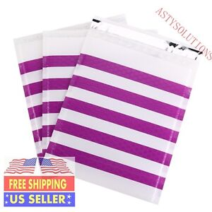 Any Size pack Purple Strip Poly Bubble Mailer Self Seal Padded Shipping Envelope