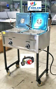 New Double Deep Fryer Portable Cart Propane gas Use Stainless Steel Model Fy20