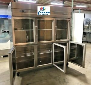 Glass Door Refrigerator Freezer Combo Rg46 6 Door Commercial Cooler restaurant