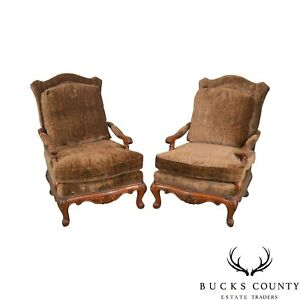 Henredon French Louis Xv Style Carved Mahogany Large Pair Fauteuil Lounge Chairs