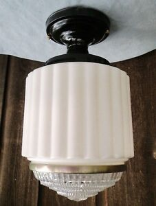 Antique Art Deco 10 Wedding Cake Skyscraper Ceiling Light Fixture Stunning