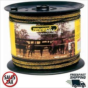 Baygard 00129 656 Yellow Black High Visibility Electric Fence Tape 5 Strands