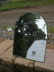 Vtg Glass Mirror With Easel Stand Round Top Epical Top Wall Hooks 16 Tall