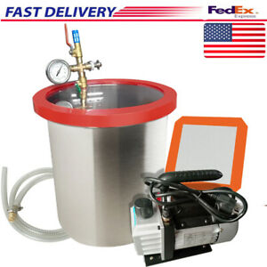 5 Gallon Stainless Steel Vacuum Degassing Chamber W 3cfm Pump Hose Silicone Pad
