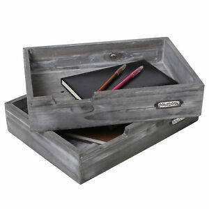 Set Of 2 Ash Gray Wood Office Desktop Document Trays Decorative Multipurpose