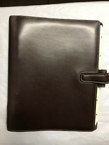Filofax Weekly Daily Planner Brown Leather Organizer 7 X 9 Pencil pen Holders