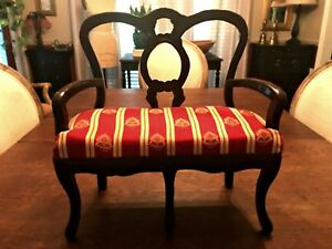Vintage Salesman Sample Love Seat Miniature Doll Size Settee Sofa 15 5 Inches