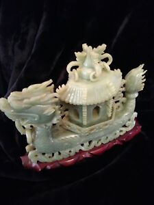 Antique Vintage Carved Jade Dragon Boat Censor Lid With Carved Wood Stand