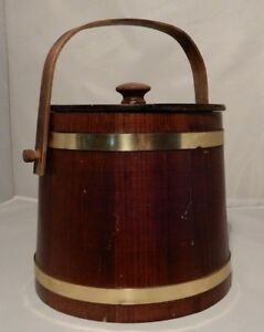 Wooden Firkin Maple Syrup Sugar Bucket Dark Wood Tone With Lid Metal Bands