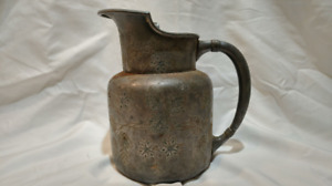Meriden Silver Plate Company Quadruple Plate Pitcher With Floral Vines Marked 04