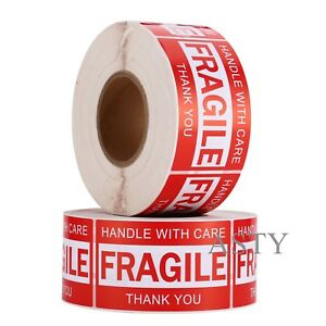 2000 Labels 2 Rolls 3x5 Handle With Care Fragile Label Sticker 1000 Per Roll
