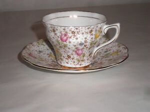 Rosina Bone China Cup And Saucer Set Tulips And Dots With Gold Trim June 4974