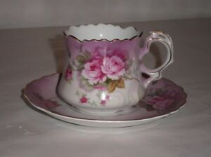 Vintage Lefton China Hand Painted Tea Coffee Cup Set Pink Roses With Purple