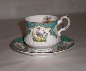 Queens Rosina China Co Cup And Saucer Set Teal Peacock Withflowers Gold Rim