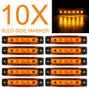 10x 24v Smd 6 Led Yellow Rear Side Marker Light Position For Truck Trailer Lorry