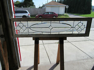 Antique Full Beveled Leaded Glass Transom Window 65 25 X 16 5 Salvage
